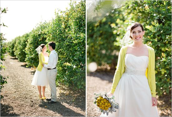 lemon ranch wedding  Photographer: Lavender & Twine Event Designer: An Enlightened Event Venue: Limoneira Ranch Makeup & Hair: Cynthia Lauran  Cake: Jana's Creative Cakes Caterer: Petite Reve Cafe–Lemon Tarts Dress Designer: La Soie Flowers: Tenley Erin Young Groom's Attire: Tie & Suspenders– Me and Matilda Shoe Designer: Nina Stationery: Lilly & Louise Veil or Hair Accessories: Veronique Coleccion Prop or Furniture Rentals: Ventura Rental Linens: La Tavola Bride's Sweater:Forever 21