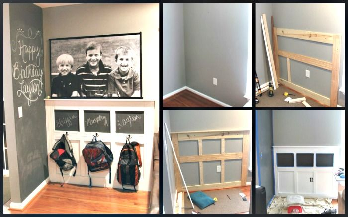 How To Create A pseudo mudroom area - step by step directions for building a backpack wall or storage area.
