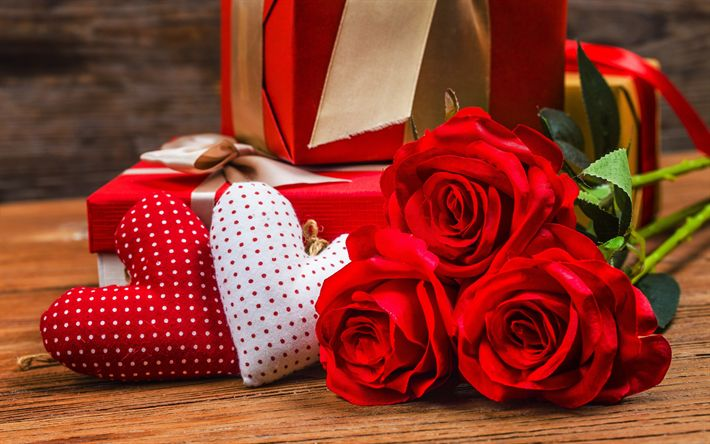 Download wallpapers hearts, romance, bouquet of red roses, February 14, Valentines Day