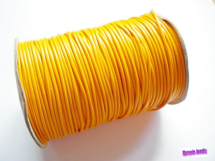 Cordon polyester ciré orange clair 1,5 mm : Fils, cordons pour bijoux par mercerie-jewelry