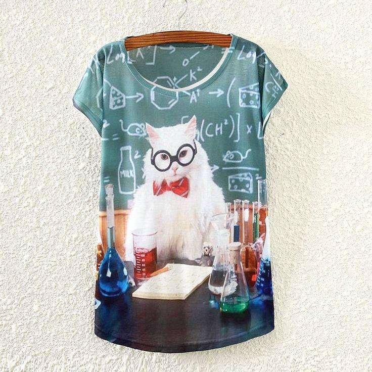 Vintage Fashion Summer Women Short Sleeve Chemistry Lab Cat Print T Shirt Tee #Unbranded #GraphicTee