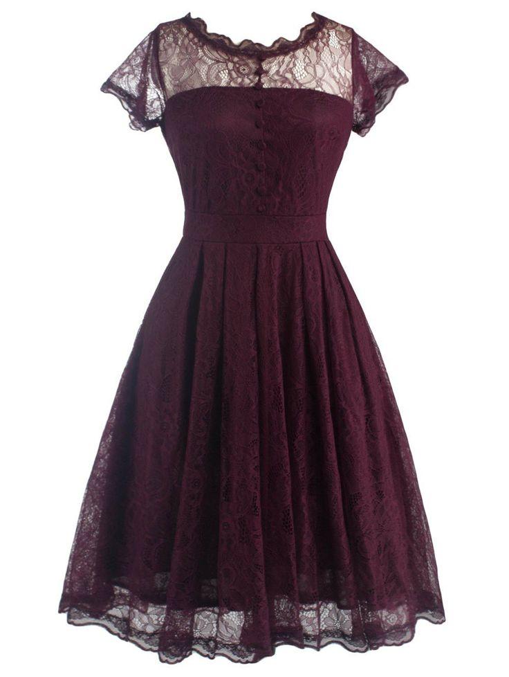 Retro Lace V Back Burgundy Dress