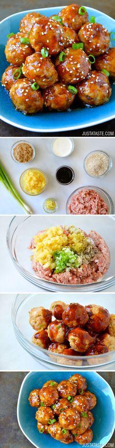 Baked Teriyaki Chicken Meatballs by justataste #Meatballs #Chicken #Teriyaki