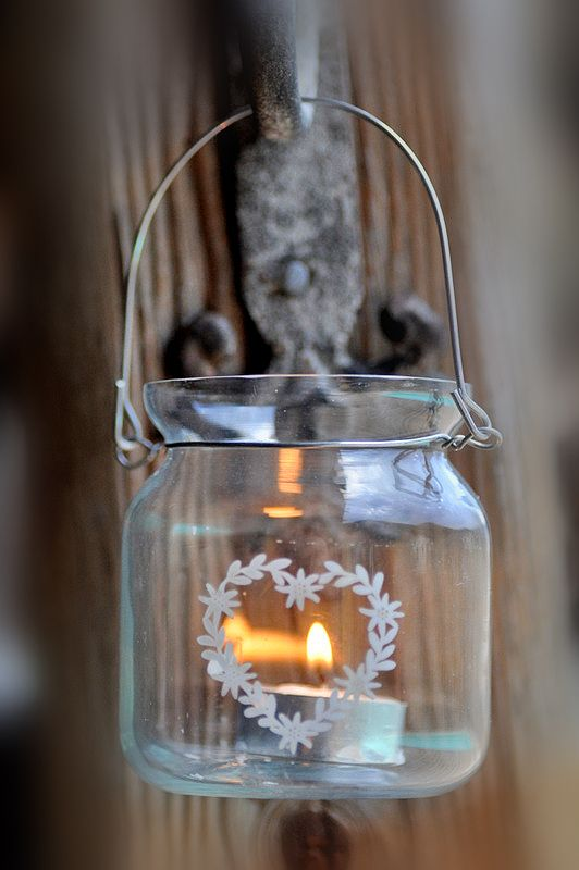 Candle in a glass container / jar... the floral detail makes all the difference! Lovely!!