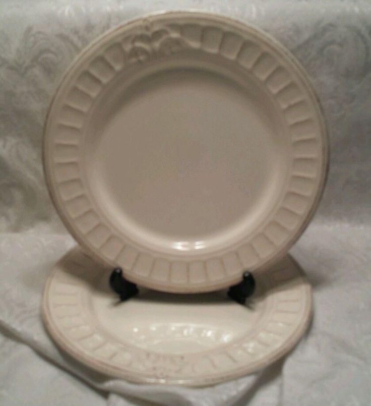 "2 Matceramica Venice Anitque Cream Dinner Plates 10 3/4"" - Made in Portugal Lot1 #Matceramica"
