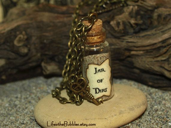 Jar of Dirt Necklace and Key Charm Disney Pirates of the Caribbean Jack Sparrow Tia Dalma on Etsy, $15.00