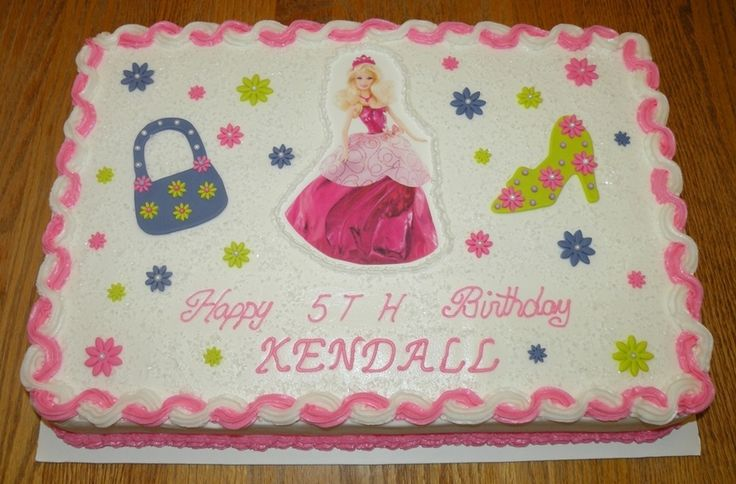 Barbie Sheet Cake Images : barbie themed sheet birthday cakes Cake is a white half ...