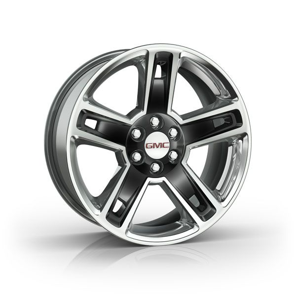 Personalize your Yukon Denali with these 22Inch Chrome Accessory Wheels These 5 spoke GM Accessories Wheels are highly polished with a gloss black painted spokes Yukon Denali 22 inch Wheels High Gloss Black CK160 SEW Image For Illustrational Purposes Only Tires Lug Nuts and Center Caps Sold Separately This is for a SINGLE Wheel