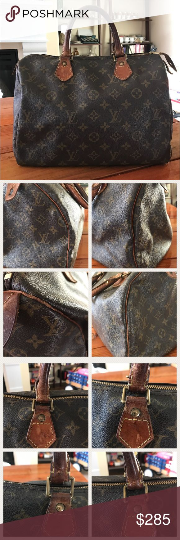 Authentic Louis Vuitton Speedy 30 Preloved Speedy 30. Please look at the photos closely. I took plenty of photos to show the condition of the bag. Hardwares have tarnished. No exposed piping but have some wear. There are tears on each corners and a scuff mark on the bottom of the bag. The interior has some marks, stains and ripped seam. The zipper works well on this purse. Priced to sell and thanks for looking! Date code is SP0956. Louis Vuitton Bags Satchels