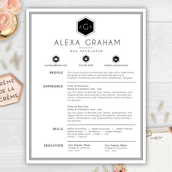 9 best monogram resume templates images on pinterest for Does cv stand for cover letter
