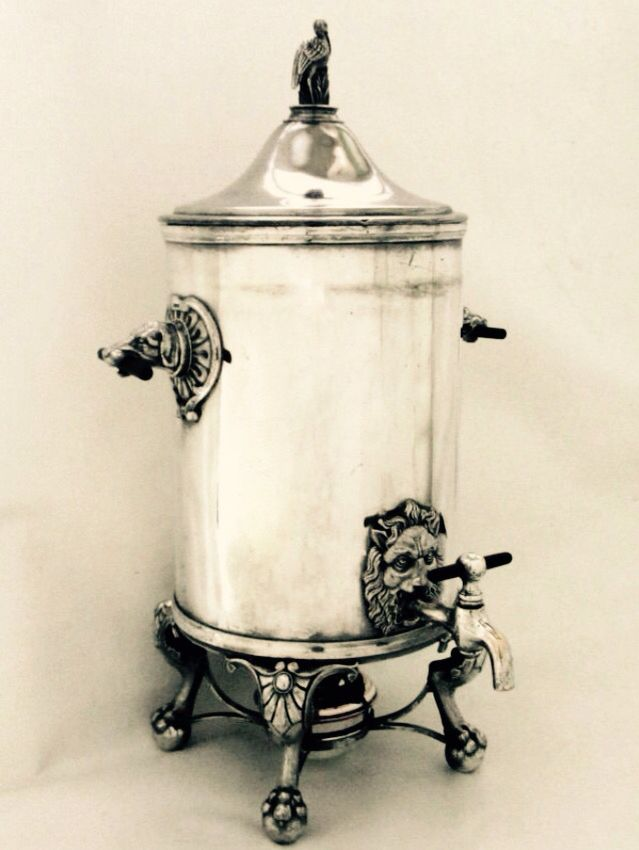 Victorian coffee urn , 1868  Made in U.S.A Eurake silver plate