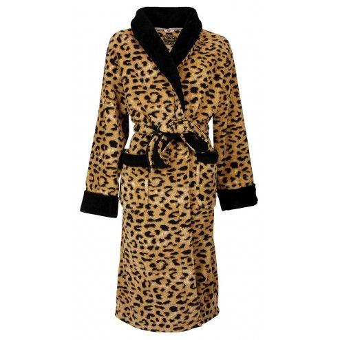 Koudebestendige dames badjas met pantermotief