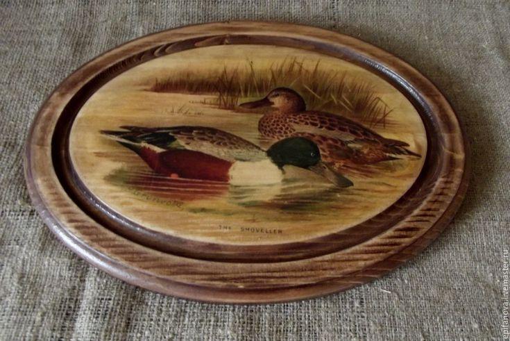 Купить Поднос деревянный Две уточки - коричневый, деревенский стиль, кантри стиль, поднос для кухни