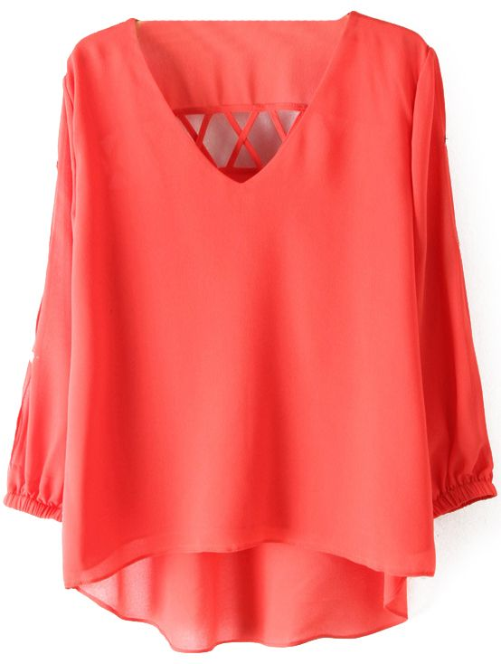 Coral Rose Long Sleeve Back Hollow Chiffon Blouse