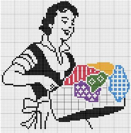 0 point de croix femme et panier de linge - cross stitch woman and basket of clothes