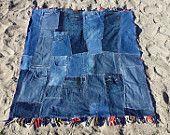 Patchwork Denim Quilt, Plaid Picnic Blanket with Fringe, Eco Friendly Play Blanket - Blue Denim, Red and Blue Plaid