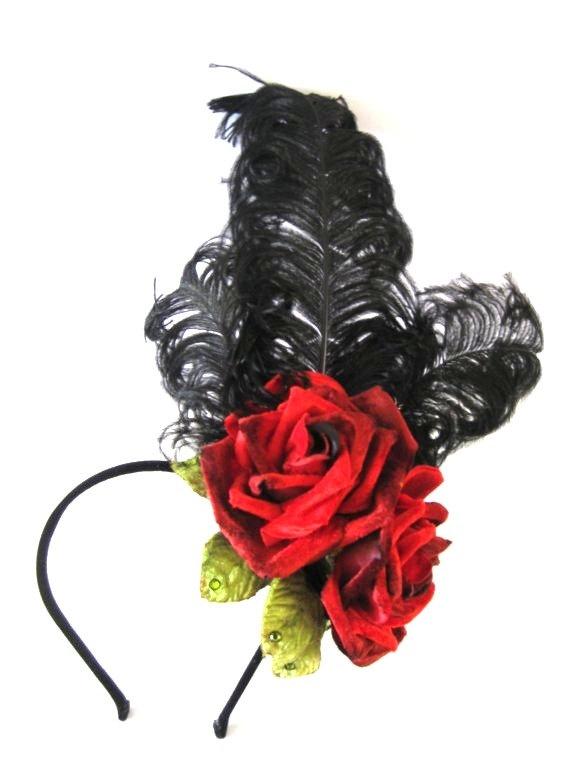 Chorus Line By Samantha Sultana - Red Velvet Rose, Black Ostrich Feather, Burlesque, Saloon Girl, Headband