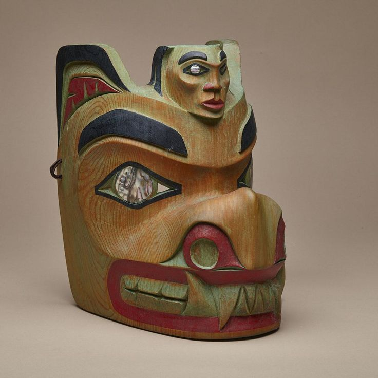 "Lot 148   WILFRED SAMPSON (1957-), GITKSAN WOLF MASK  wood, abalone, signed and dated 95  11"" x 8"" x 10"" — 27.9 x 20.3 x 25.4 cm. Estimate: $600—900 Waddington's Inuit Art Auctions"