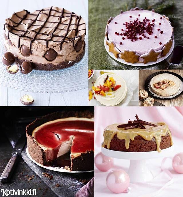Jouluinen juustokakku kruunaa ihanan aterian. Onko suosikkisi raikas minttu-suklaakakku, jouluinen glögikakku vai kenties ihanasti överi amerikkalainen juustokakku? Katso ihanat ohjeet!