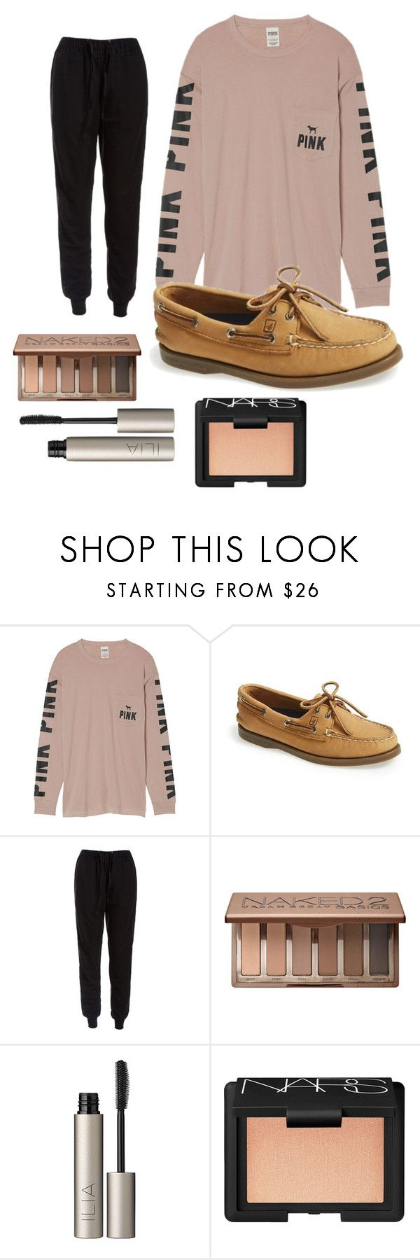 """chilled mall outfit"" by madelynoneill ❤ liked on Polyvore featuring Victoria's Secret, Sperry, Sans Souci, Urban Decay, Ilia and NARS Cosmetics"