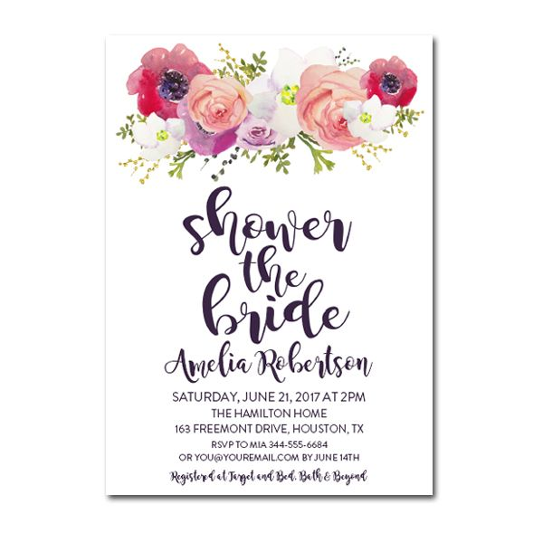 Editable PDF Bridal Shower Invitation DIY   Shower The Bride Purple  Watercolor Flowers   Instant Download  Bridal Shower Invitation Templates Download