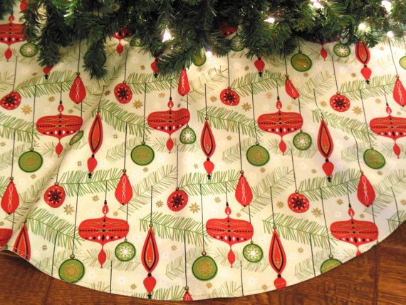 Mid Century Tree Skirt, Retro Christmas Tree Skirt, Mid Century Modern  Decoration, Red