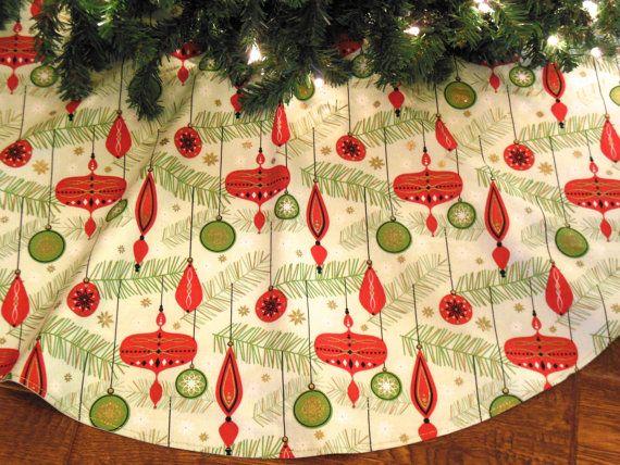 Mid Century Tree Skirt, Retro Christmas Tree Skirt, Mid Century Modern Decoration, Red and Green Tree Skirt
