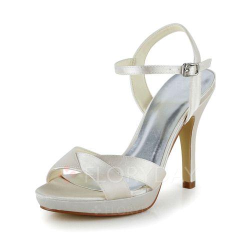 Sko - $63.28 - Kvinder Bryllupssko sandaler Kigge Tå Stiletto Hæl Satin Sko (1625098372)