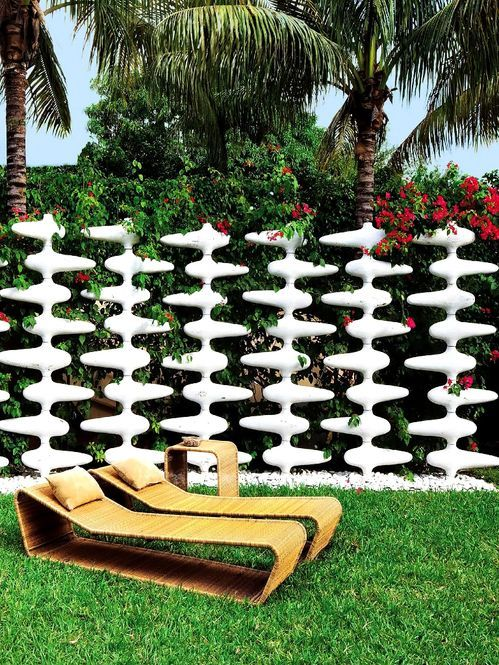 Modern fence with lounge chairs