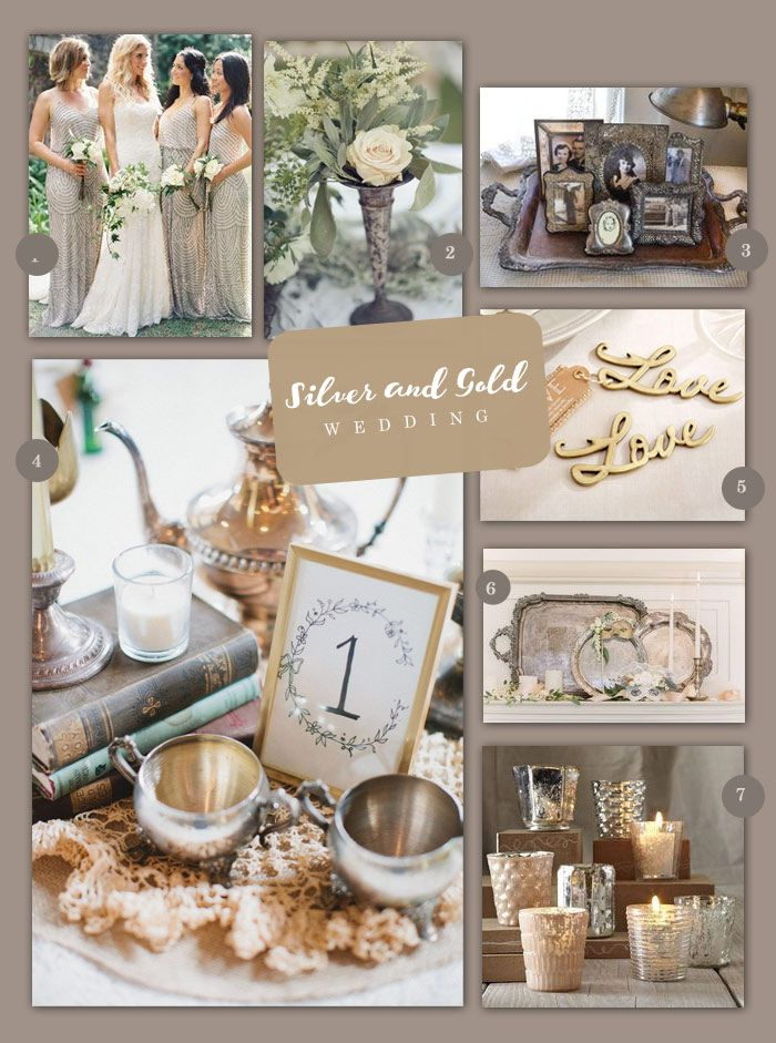 Mix and match pieces for a cohesive but unique vintage silver and gold wedding!
