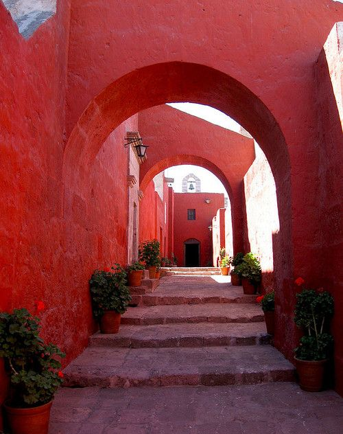 red #red #pathFrom Santa, Entrance Way, Red Doors, Peru, Colors, Arches, Red Paths, Santa Catalina, Monastery