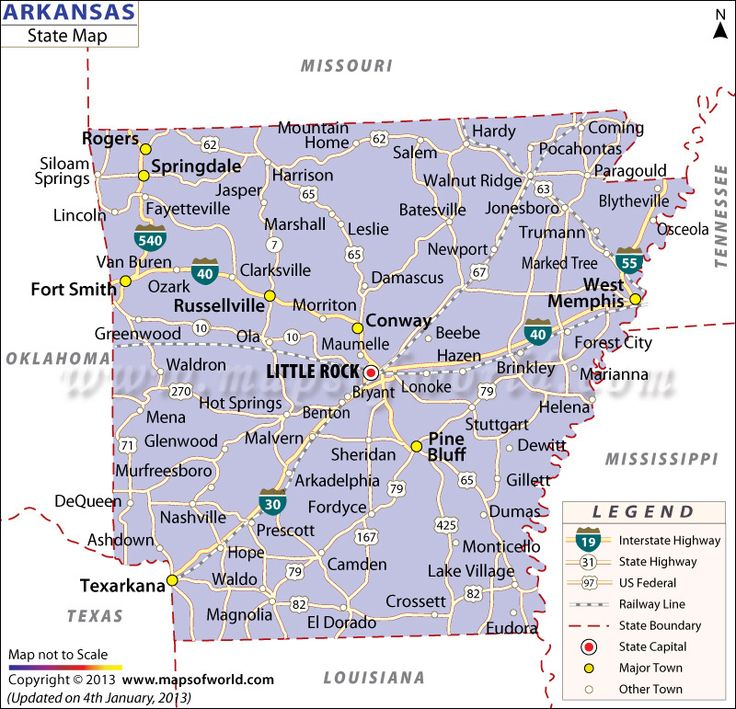 State Map of Arkansas