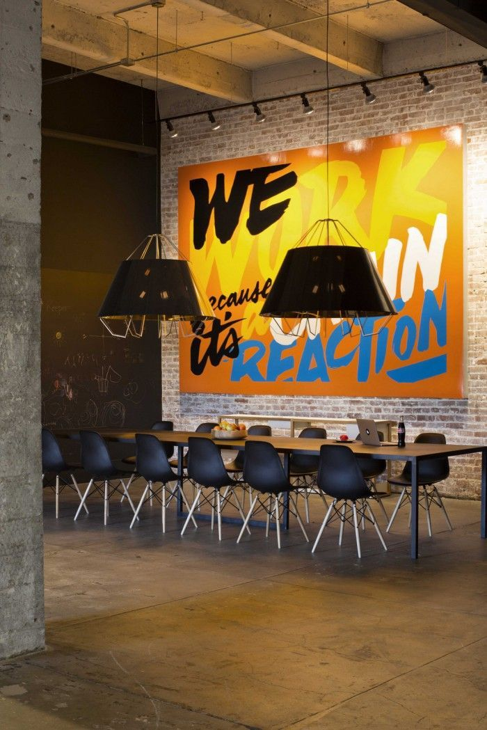 Collaborative office space in the newly designed Factory Office in San Francisco.: