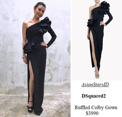 IG - Jeanette Aw: DSquared2 Ruffled Colby Gown $3990 Photo: @jeanetteaw, @dsquared2  For more and/or where to buy this item, visit asianstarsid.com  #jeanetteaw #dsquared2 #fashion #singapore #sg #mediacorp #actress #asianstarsid #gown #dresses