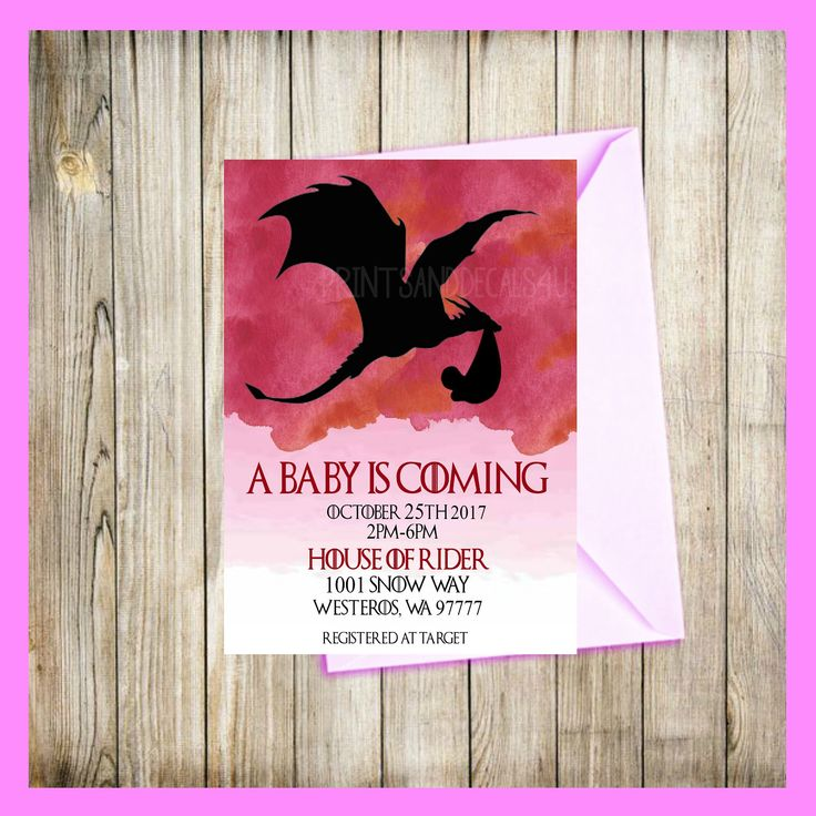 Game of Thrones Watercolor Pink House of Targaryan Mother Of Dragons Baby Shower Save the Date Gender Reaveal Invitation by PrintsAndDecals4U on Etsy https://www.etsy.com/listing/524041639/game-of-thrones-watercolor-pink-house-of