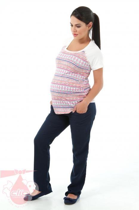 30fa1d107  Ropa  materna para clima cálido. Pantalón en lino y camiseta con  estampados étnicos