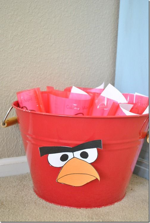 Love this for the goodie bags (and I have a red pail / bucket like this!)