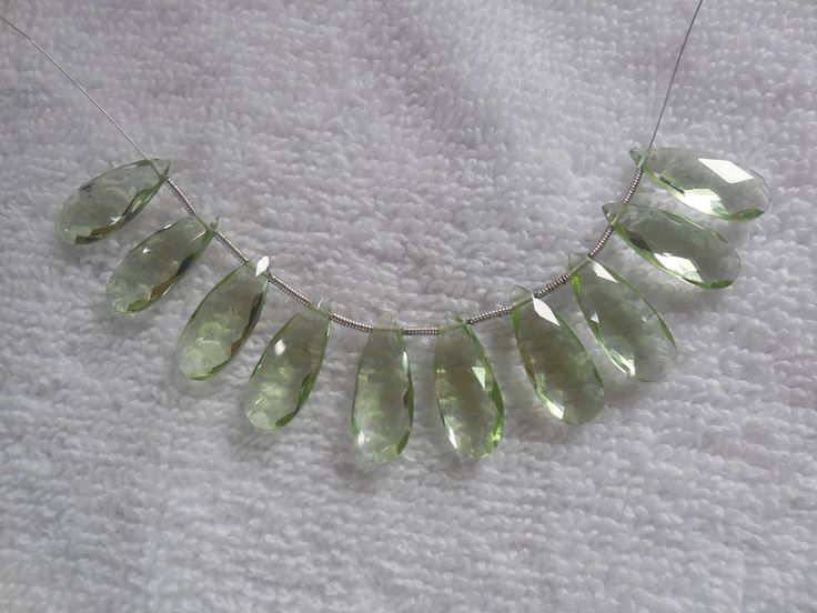 10Psc Faceted Green Amethyst Quartz Briolette,Hydro quartz Side Drilled Pear Beads,Jewellry making Beads Size 8x20MM by InternationalByBeads on Etsy