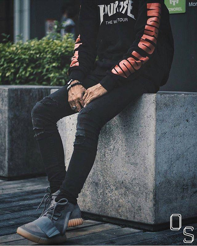 Hoodie - H&M x Purpose Tour Jeans - H&M Shoe - Yeezy Boost 750 Gum Sole