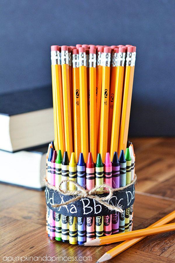 class decor - crayon pencil vase