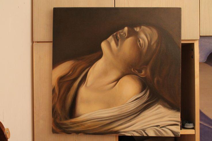 copia della 'Maddalena in estasi' di Caravaggio.  olio su tela
