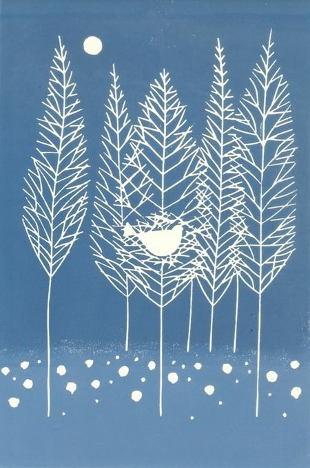 White Woods - Frosted Woodland Trees-White Bird Original Lino Print