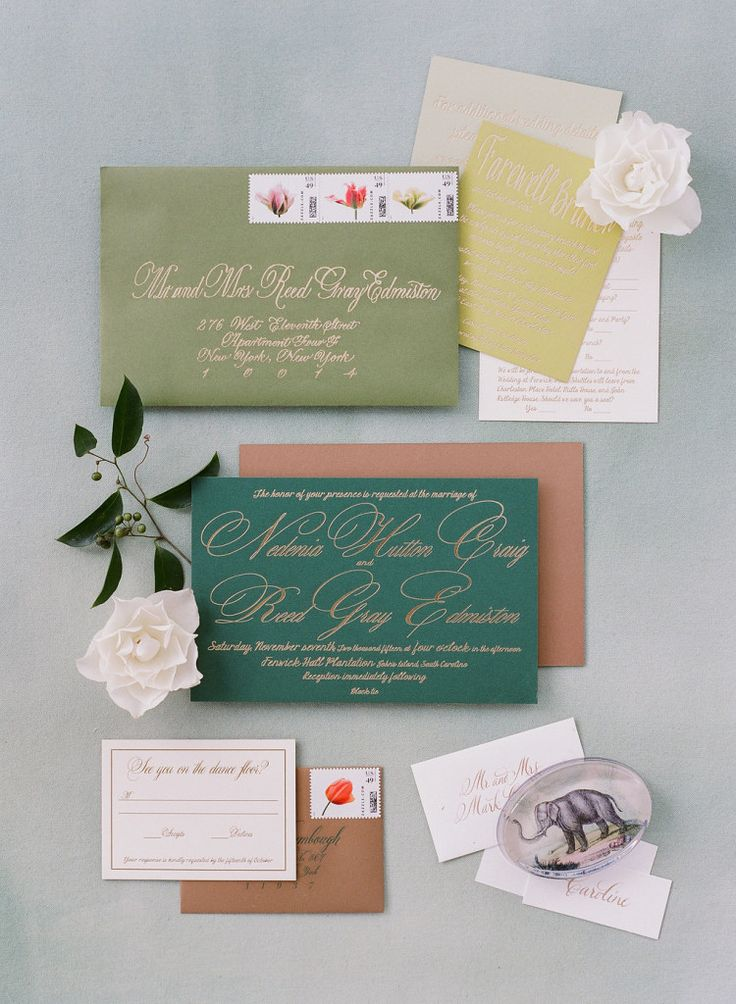 Tara Guerard Soiree wedding; photo by Corbin Gurkin Colorful invitation and paper palette with gold calligraphy