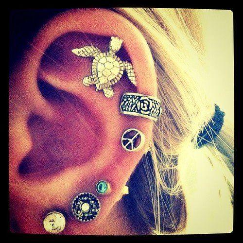 """Pinna (en el borde del cartílago, en la parte superior de la oreja), Hélix (atraviesa el borde de la oreja, va prácticamente desde el lóbulo hasta el denominado """"puente""""), Concha (en el centro o """"concha auditiva"""" de la oreja), etc."""