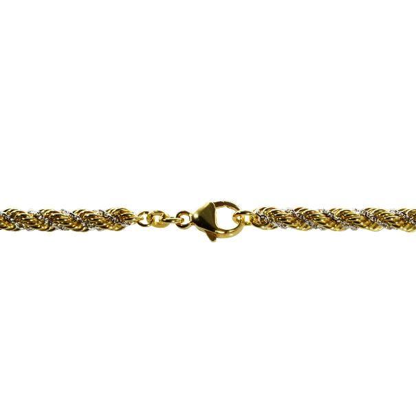Wunderschöne 45cm Kordelkette 333 Gelb- u. 333 Weißgold 4,4mm als hochwertige Bicolor Halskette mit Schmuckkarabiner-Verschluss  Artikelzustand: Neu mit Etikett Modell : Kordelkette Marke: S.W.w. Länge: 45cm Dicke : 4,4mm Material : 333 Gelbgold u...