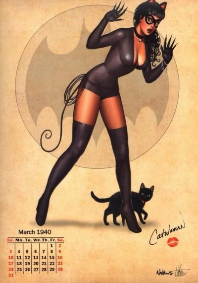 Cartoon girl in cat costume and stockings from a vintage calendar