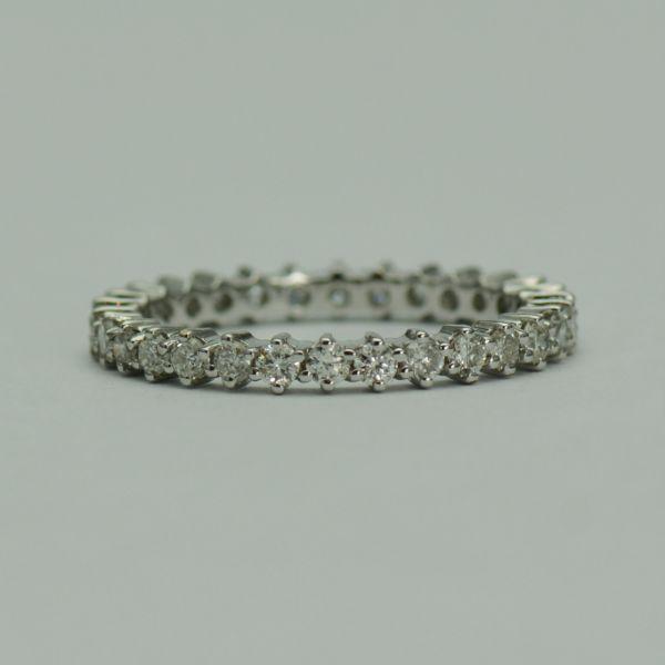 Inel aur alb 18k cu diamante, model Memory