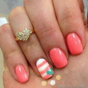 Coral nails...would do as pedi w stripes/heart on big toe