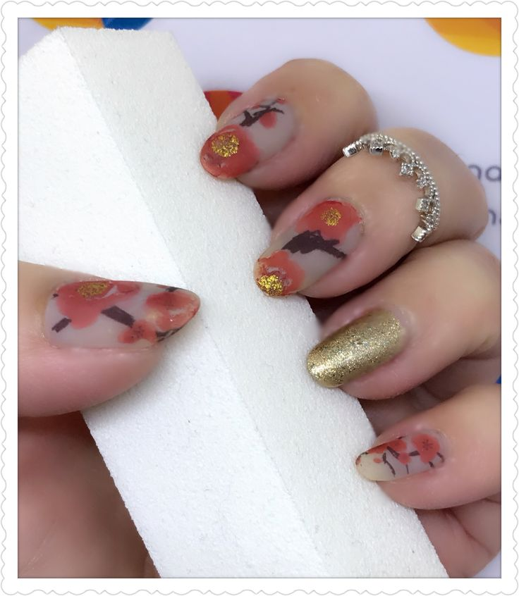 Chinese New Year Abstract Floral Matte and accent Gold nailart using water decal transfer. Products used - OPI 'My Pointe Exactly ', Deborah Lippmann 'Fake it til you make it', China Glaze 'Golden Enchantment', OPI Matte Topcoat and water decal 1593