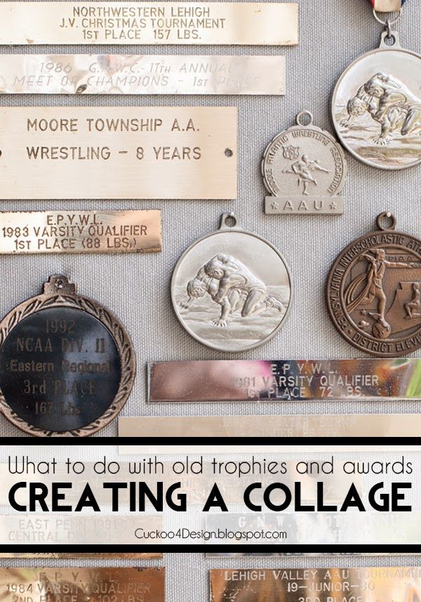 What to do with old trophies and awards? How about creating a collage?